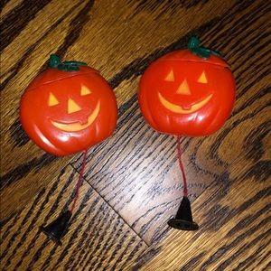 Vintage blow mold pumpkin brooches
